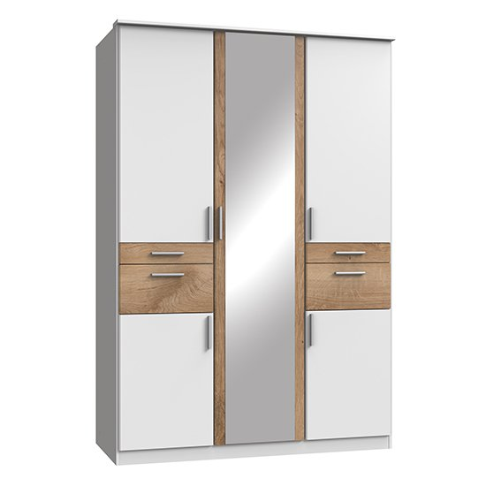 Koblenz Mirrored Wardrobe In White And Planked Oak With 4 Drawer