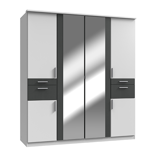 Koblenz Mirrored Wide 6 Doors Wardrobe In White And Graphite