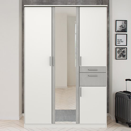 Koblenz Mirrored Wooden Wide Wardrobe In White And Light Grey