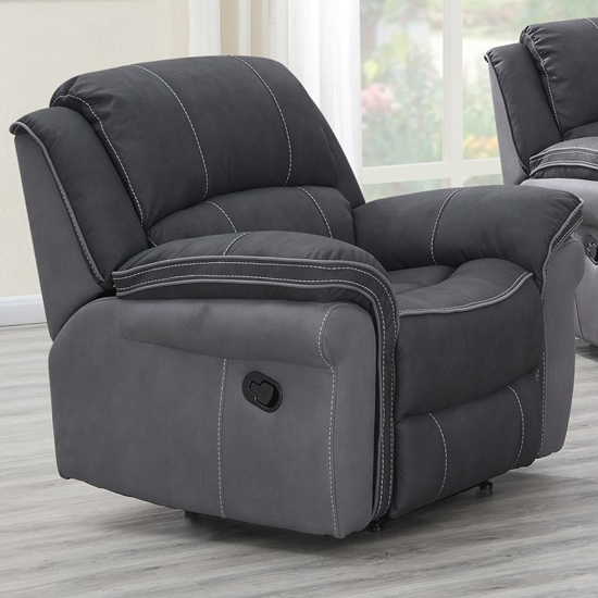 Koeia Fabric Lounge Chaise Armchair In Charcoal Fusion