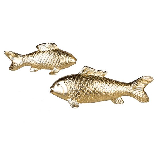 Koi Fish Poly Set Of 2 Design Sculpture In Antique Champagne