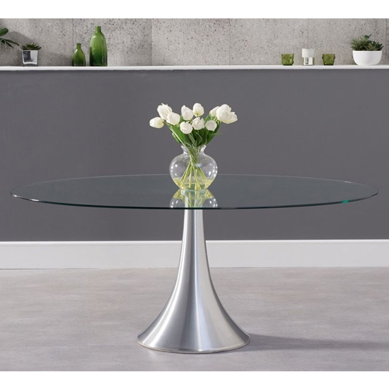 Koit Oval Glass Dining Table With Aluminium Pedestal