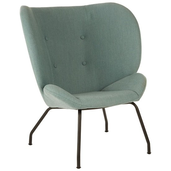 Kolding Metal Legs Chair In Green Fabric