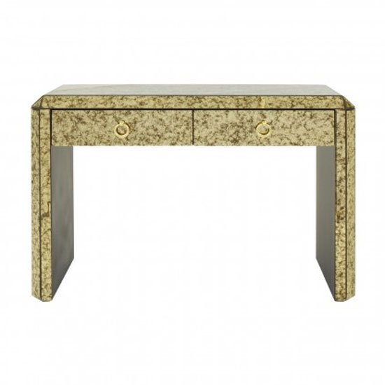 View Koma mirrored glass console table in antique gold