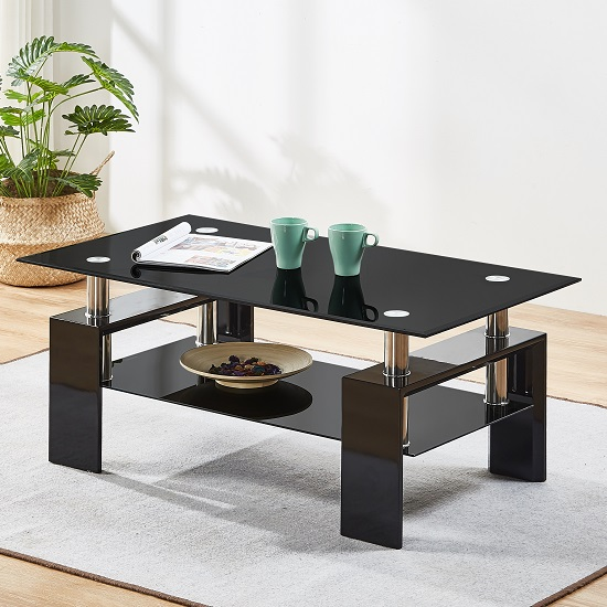 Kontrast Coffee Table In Black Glass With High Gloss Legs_1