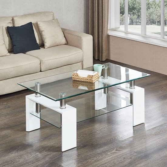 Kontrast Coffee Table In Clear Glass With White High Gloss Legs