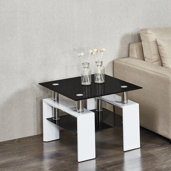 Kontrast Side Table In Black Glass And High Gloss White Legs