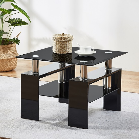 Kontrast Black Glass Side Table With High Gloss Legs_1