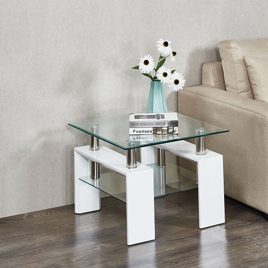 Kontrast Side Table In Clear Glass And High Gloss White Legs