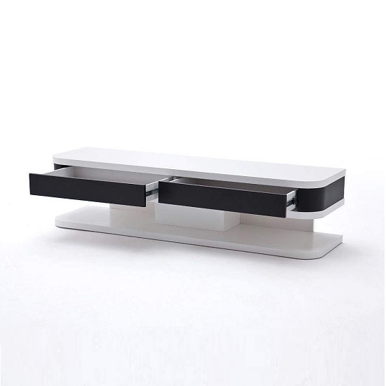 Kontur TV Stand In White With Black Contrast And 2 Drawers_2