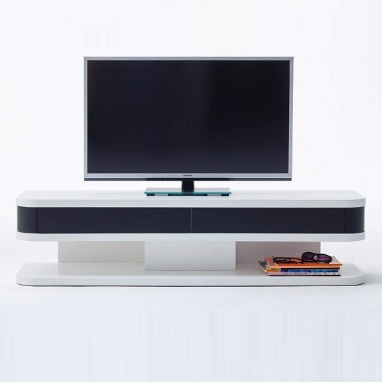 Kontur TV Stand In White With Black Contrast And 2 Drawers_3