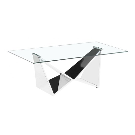 Konya Clear Glass Coffee Table With Silver Legs
