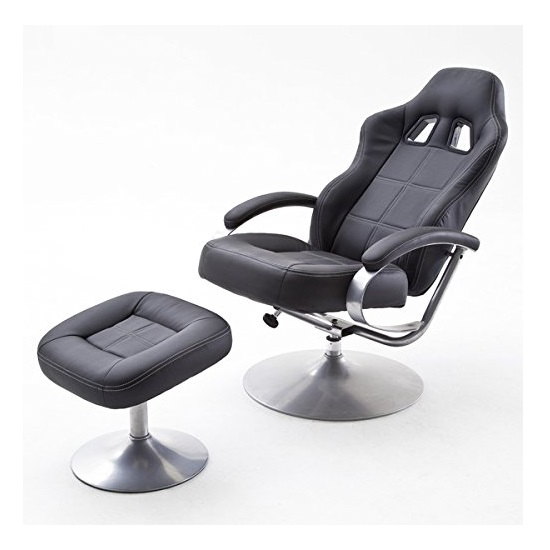 Korina Swivel Recliner Chair In Black PU With Foot Stool_2