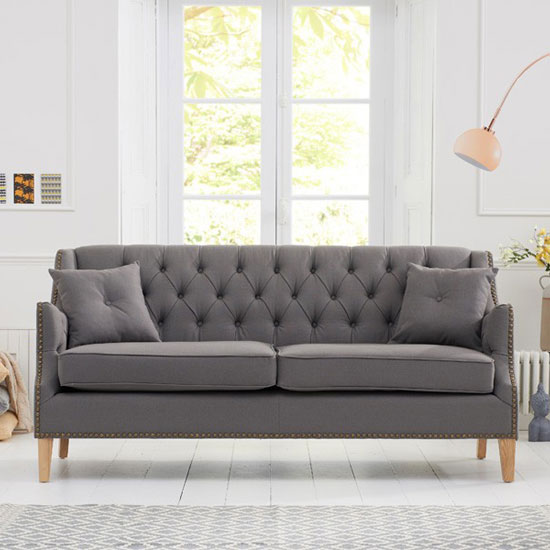 Kosmo 3 Seater Sofa In Grey Fabric With Natural Ash Legs_2