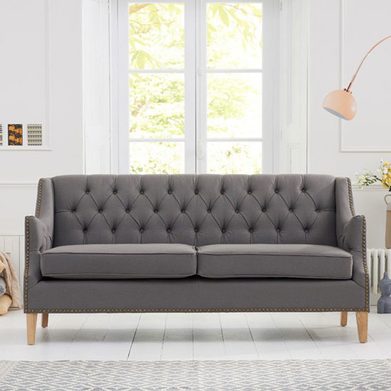 Kosmo 3 Seater Sofa In Grey Fabric With Natural Ash Legs_3