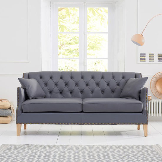 Kosmo 3 Seater Sofa In Grey Leather With Natural Ash Legs