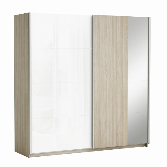 Kosmo Sliding Wardrobe Shannon Oak And Linen With 2 Doors