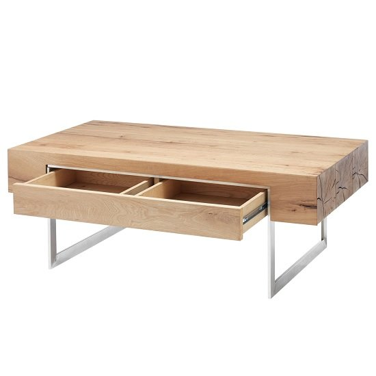 Kosovo Wooden Coffee Table In Knotty Oak With 1 Drawer_2