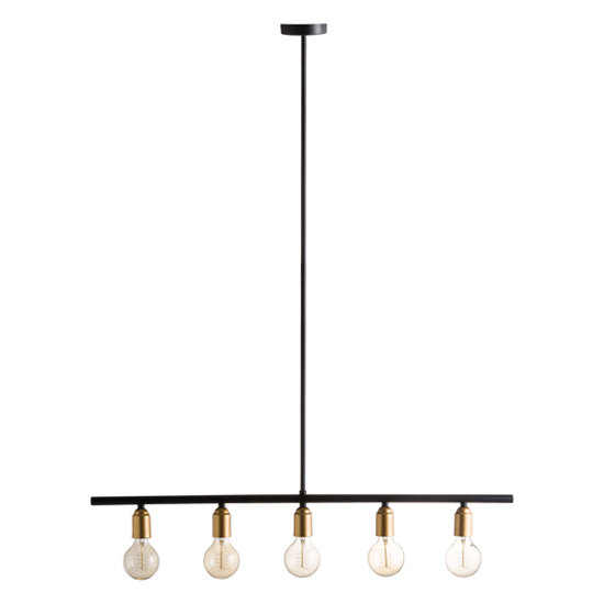 View Kowhais industrial 5 bulb bar pendant light in black and brass