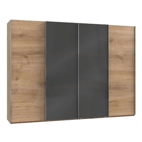 Koyd Mirrored Sliding Wardrobe In Grey And Planked Oak 4 Doors