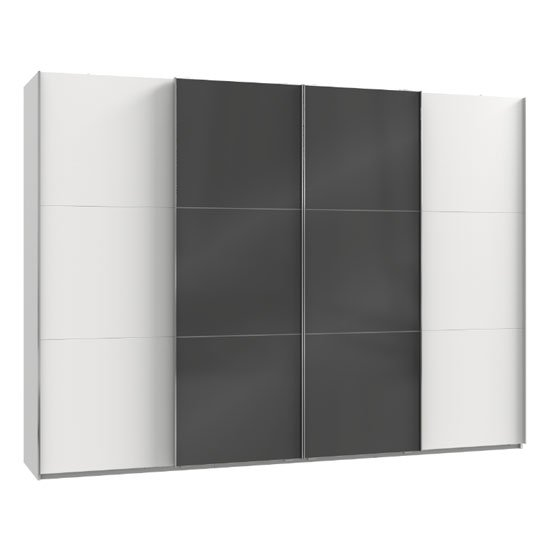 Koyd Mirrored Sliding Wardrobe In Grey And White 4 Doors