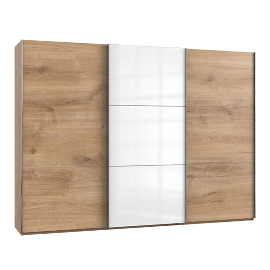 Koyd Mirrored Sliding Wardrobe In White And Planked Oak 3 Doors