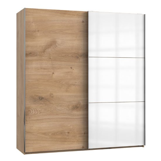 Koyd Mirrored Sliding Wardrobe In White And Planked Oak