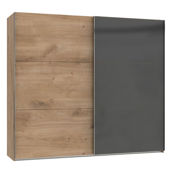 Koyd Mirrored Sliding Wide Wardrobe In Grey And Planked Oak
