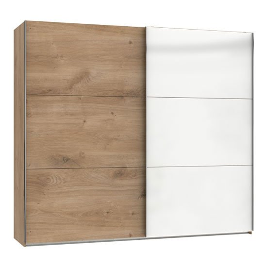 Koyd Mirrored Sliding Wide Wardrobe In White And Planked Oak