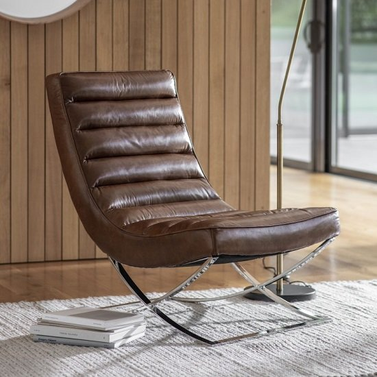 Kramer Leather Lounge Chair In Brown With Metal Frame