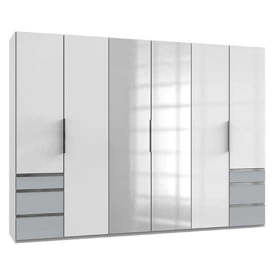 Product photograph showing Kraz Mirrored 6 Doors Wardrobe In High Gloss White Light Grey