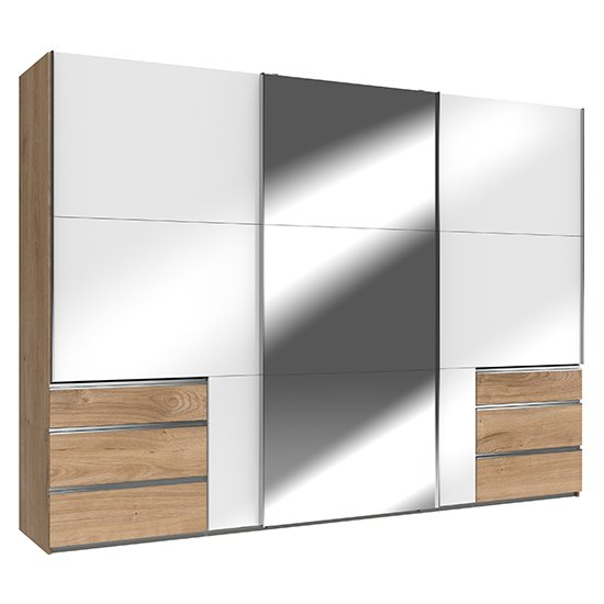 Product photograph showing Kraz Mirrored Sliding 3 Door Wardrobe In Gloss White Planked Oak