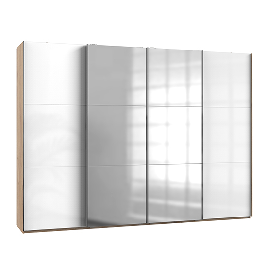 Kraz Sliding 4 Door Mirrored Wardrobe In Gloss White Planked Oak
