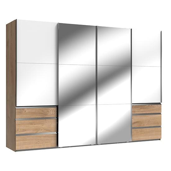 View Kraz mirrored sliding 4 door wardrobe in gloss white planked oak