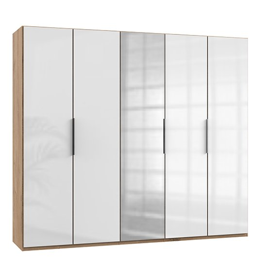 Kraz Mirrored Wardrobe In Gloss White Planked Oak With 5 Doors_1