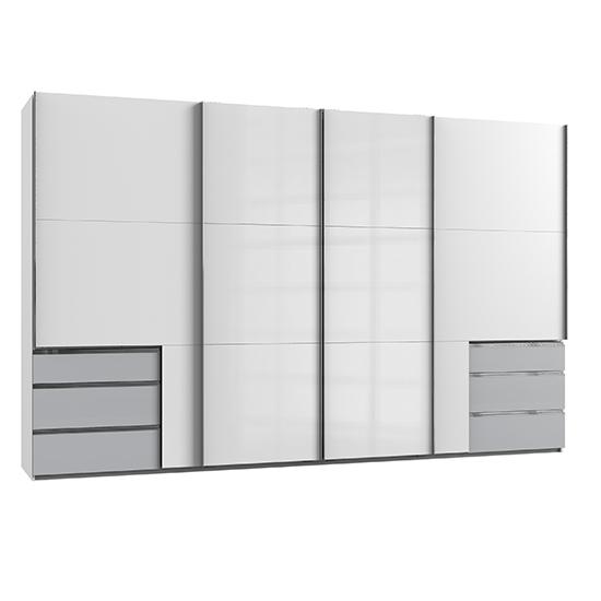 View Kraz sliding 4 doors wardrobe in high gloss white light grey
