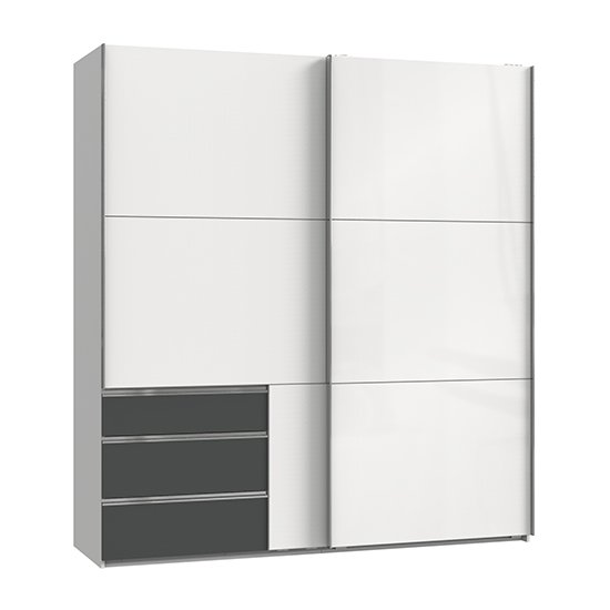 View Kraz sliding door wardrobe in high gloss white graphite