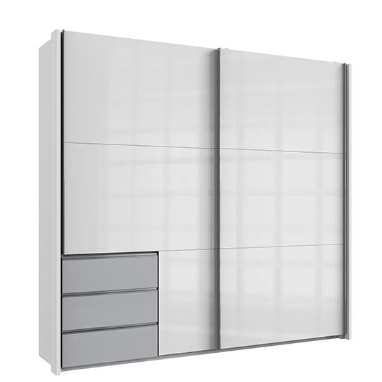 View Kraz sliding door wardrobe in high gloss white light grey