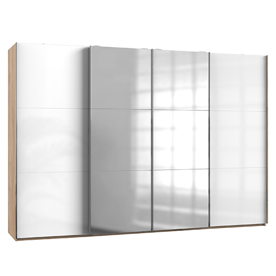 Kraz Wide Mirrored Sliding 4 Door Wardrobe In Gloss White Oak