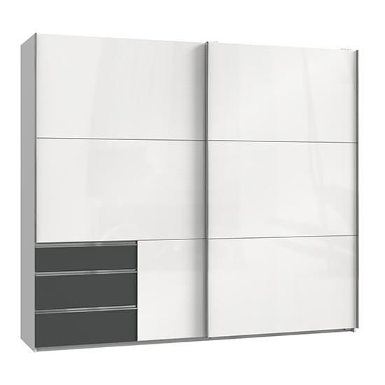View Kraz wide sliding door wardrobe in high gloss white graphite