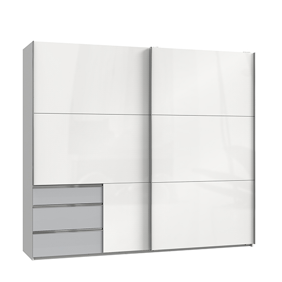 Kraz Wide Sliding Door Wardrobe In High Gloss White Light Grey