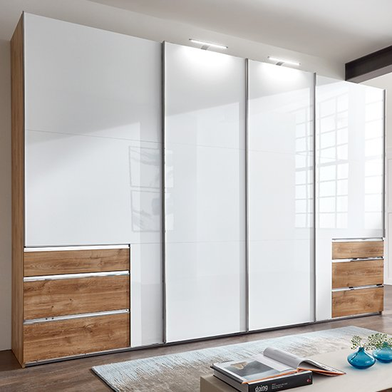 Kraz Wide Sliding 4 Door Wardrobe In Gloss White Planked Oak