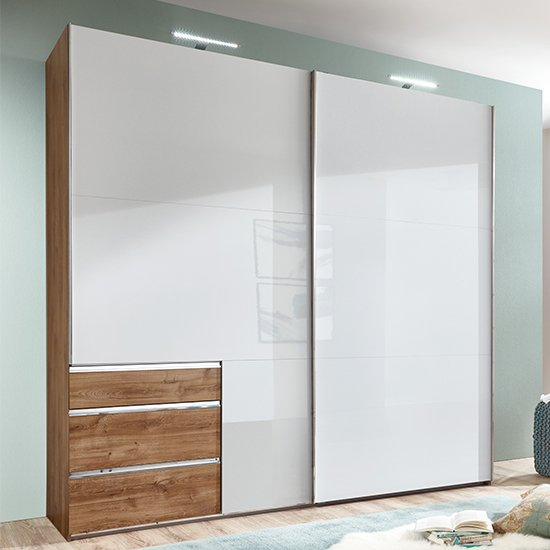 Kraz Wide Sliding Door Wardrobe In Gloss White Planked Oak
