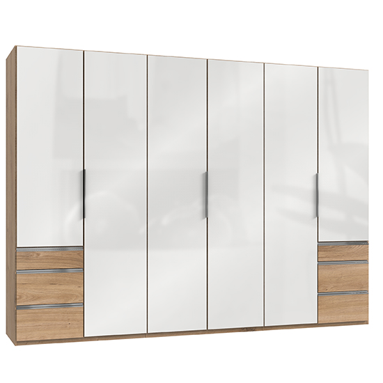 Kraz Wooden 6 Doors Wardrobe In Gloss White And Planked Oak