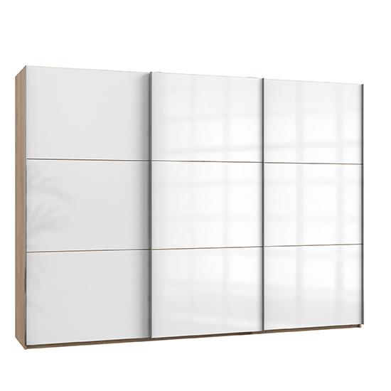 View Kraz sliding 3 doors wardrobe in gloss white and planked oak