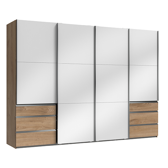 Kraz Wooden Sliding 4 Doors Wardrobe In Gloss White Planked Oak