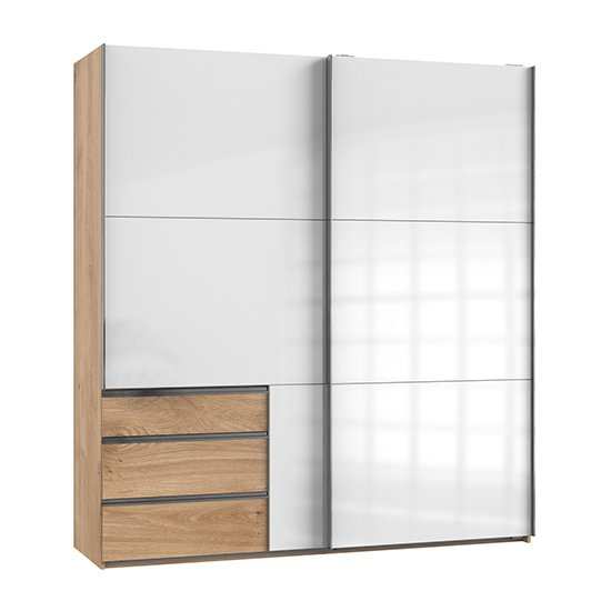 Kraz Wooden Sliding Door Wardrobe In Gloss White Planked Oak