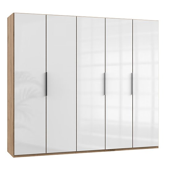 Kraz Wooden Wardrobe In Gloss White And Planked Oak With 5 Door