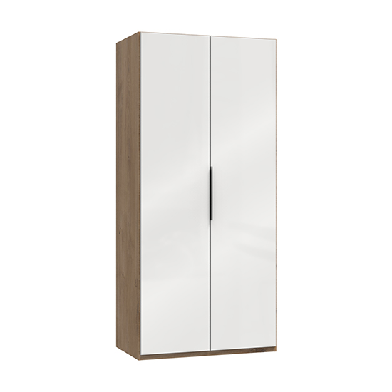 Kraz Wooden Wardrobe In Gloss White And Planked Oak