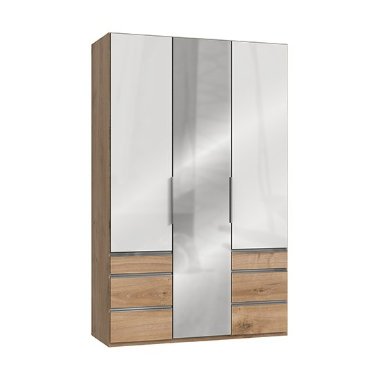 Kraza Mirrored 3 Doors Wardrobe In Gloss White And Planked Oak
